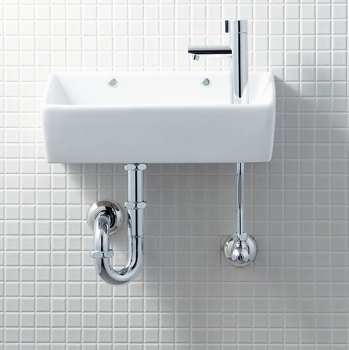 手洗い器 一式セット L-A35HD 床給水・壁排水(Pトラップ) LIXIL・リクシル トイレ用狭小手洗シリーズ 手洗タイプ(角形) INAX 幅35cm以上(36cm)注:画像と給水方向が違います