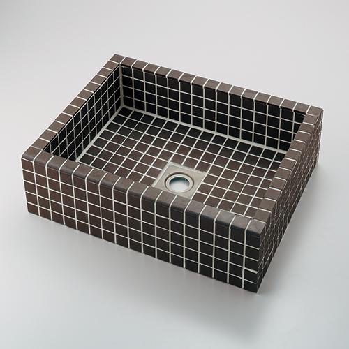 カクダイ KAKUDAI 角型洗面器//グレーブラウン 【493-143-GB】 水栓金具・器