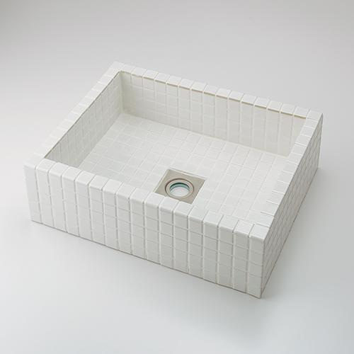 カクダイ KAKUDAI 角型洗面器//ホワイト 【493-143-W】 水栓金具・器