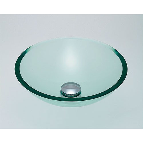 ガラス丸型洗面器//クリア 【493-025-C】 【配管資材・水道材料】カクダイ