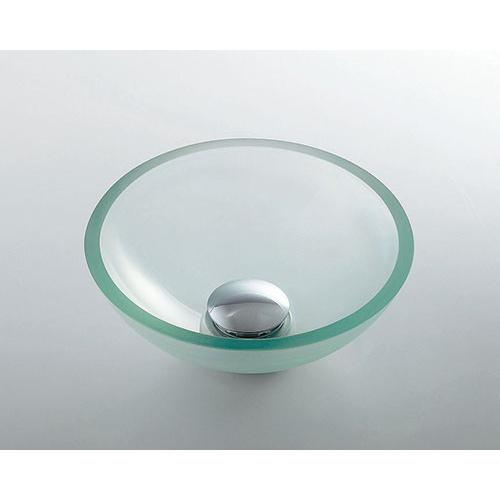 ガラス丸型手洗器//クリア 【493-028-C】 【配管資材・水道材料】カクダイ