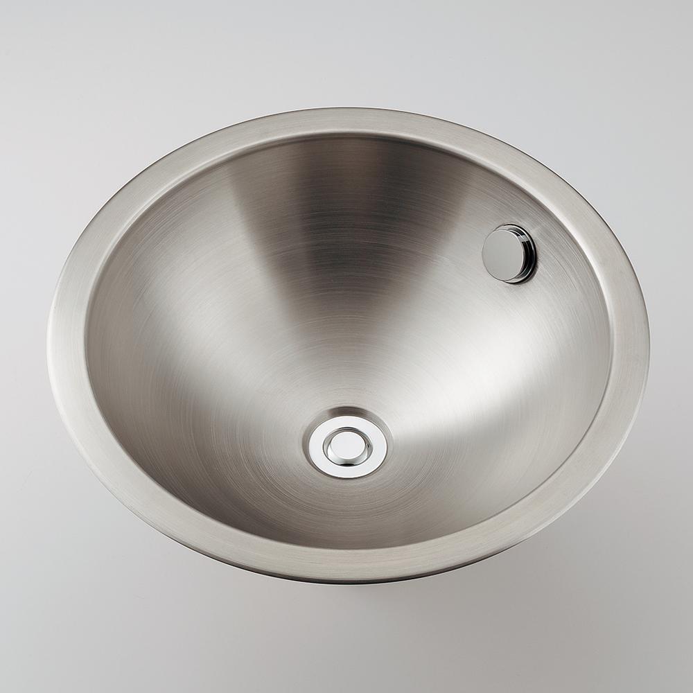 ステンレス丸型洗面器//ヘアライン 【493-041】 【配管資材・水道材料】カクダイ