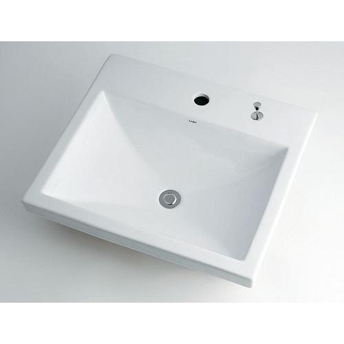 角型洗面器 【493-003H (1ホール・ホップアップ穴付き)】 【配管資材・水道材料】カクダイ