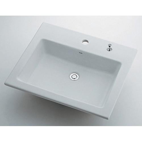 カクダイ 【493-008H (1ホール・ポップアップ穴付き)】 角型洗面器 【配管資材・水道材料】 メーカー直送の為代引き不可