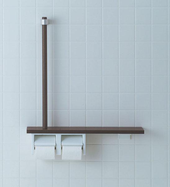 木製のおしゃれなトイレ用手すり 介護用におすすめです リノベーション リフォームにおすすめ 通販 NKF-3WU2 おしゃれな手すりです トイレ L型 トイレットペーパーホルダー� 棚手摺り L型タイプ 介護用 リクシル トレンド INAX LIXIL トイレリフォーム 手すり イナックス 左右共通
