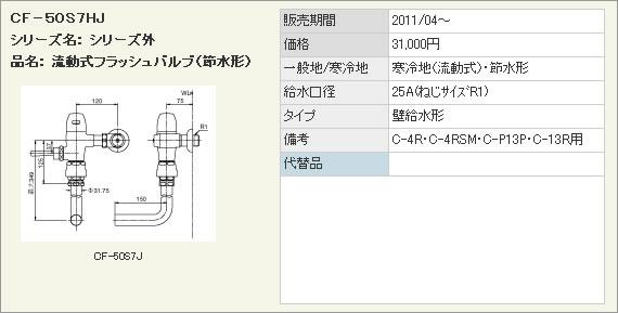 LIXIL・リクシル トイレ 流動式節水形フラッシュバルブ(寒冷地用) 洗浄水量10-15L用 【CF-50S7HJ】 壁給水形フラッシュバルブ(バキュームブレーカー付) INAX