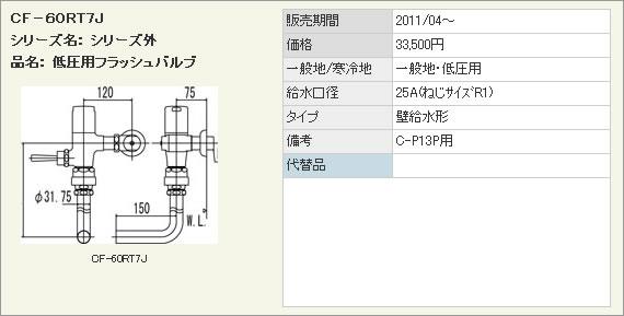 LIXIL・リクシル トイレ 低圧用フラッシュバルブ(節水形) 【CF-60RT7J】 壁給水形フラッシュバルブ(バキュームブレーカー付) C-P13P用 INAX