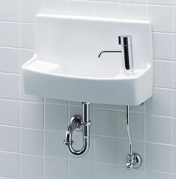 L-A74HA LIXIL・リクシル トイレ用手洗い器 ハンドル水栓 壁給水・床排水 ハイパーキラミック INAX