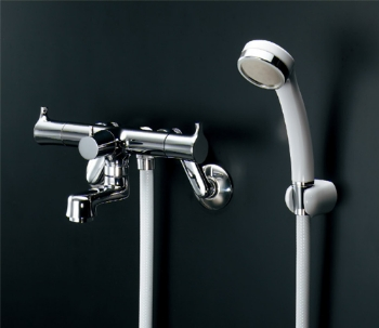 【139-020K】2ハンドル シャワー混合栓(壁付)【カクダイ・バス水栓・シャワーバス水栓・浴室水栓】(一時止水)