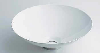 丸型手洗器//ホワイト 【493-039-W】 【配管資材・水道材料】カクダイ