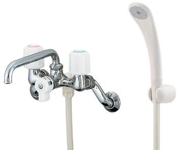 2ハンドルシャワ混合栓 【1378S】 【配管資材・水道材料】カクダイ