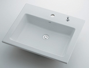 角型洗面器 【493-008H (1ホール・ポップアップ穴付き)】 【配管資材・水道材料】カクダイ