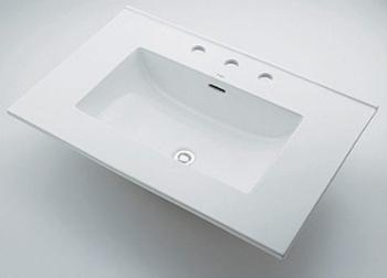 角型洗面器 【493-089 (3ホール)】 【配管資材・水道材料】カクダイ