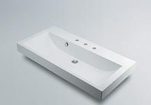 角型洗面器 【493-071-1000 (3ホール)】 【配管資材・水道材料】カクダイ