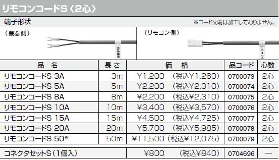【0700079】ノーリツ 給湯器 関連部材 リモコンコードS 50 長さ:50m [2心]