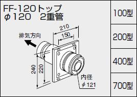 【0700244】ノーリツ 給湯器 関連部材 給排気トップ(2重管方式及び2本管方式) FF-120トップ φ120 2重管 400型