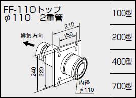 【全品送料無料】【0700246】ノーリツ 給湯器 関連部材 給排気トップ(2重管方式及び2本管方式) FF-110トップ φ110 2重管 100型