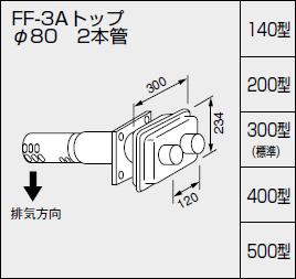 【0702905】ノーリツ 給湯器 関連部材 給排気トップ(2重管方式及び2本管方式) FF-3Aトップ φ80 2本管 300型(標準)
