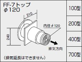 【全品送料無料】【0703511】ノーリツ 給湯器 関連部材 給排気トップ(2重管方式及び2本管方式) FF-7トップ φ120 100型