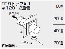 【全品送料無料】【0704516】ノーリツ 給湯器 関連部材 給排気トップ(2重管方式及び2本管方式) FF-9トップA-1 φ120 2重管 200型