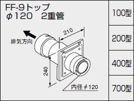 【0704802】ノーリツ 給湯器 関連部材 給排気トップ(2重管方式及び2本管方式) FF-9トップ φ120 2重管 200型