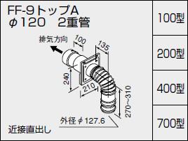 【全品送料無料】【0704855】ノーリツ 給湯器 関連部材 給排気トップ(2重管方式及び2本管方式) FF-9トップA φ120 2重管 200型