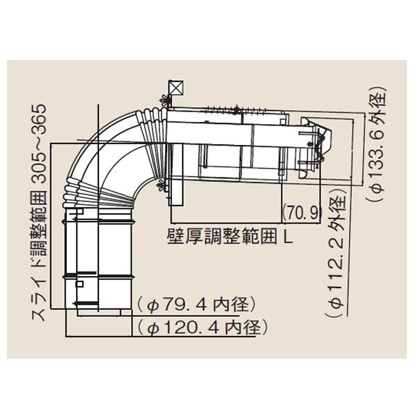 リンナイ φ120×φ80給排気部材 FF 2重管用 【FFT-7UL-200】給排気トップ(直排専用)(24-0724)【FFT7UL200】 給湯器