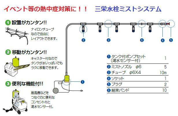 三栄水栓 【熱中症対策】[SANEI]ミストポンプセット(タンク付)ミストシャワーを発生させて温度を下げる、野外活動、イベント等、野外活動の熱中症対策に!【ECXH171S-ZA】[新品] [SANEI] 水栓