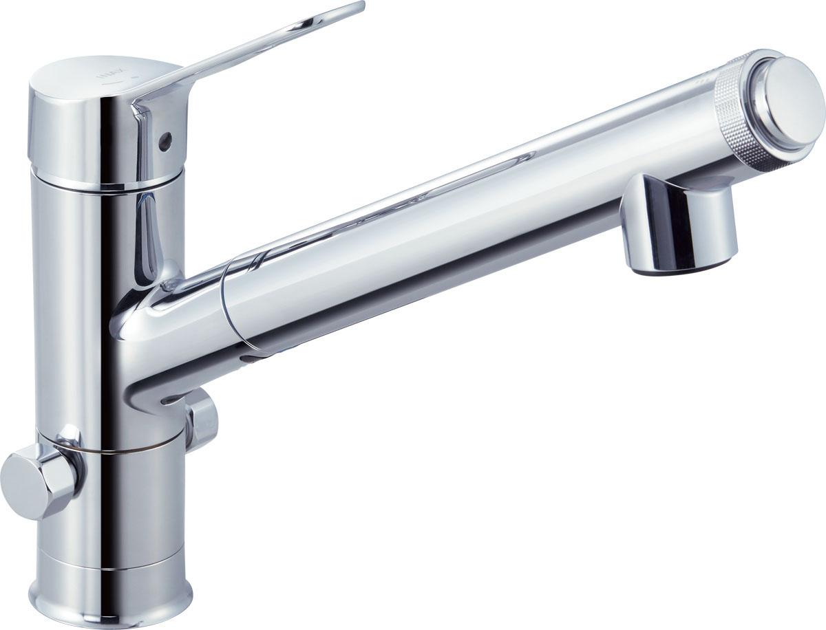 INAX・LIXIL キッチン水栓【JF-AJ461SYXB(JW)】 キッチン用水栓金具 分岐水栓(ハンドシャワー付) AJタイプ(エコハンドル) シングルレバー混合水栓(分岐口付) [イナックス・リクシル]