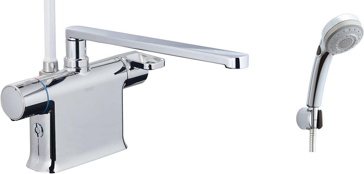 浴槽、カウンターデッキ面に取り付けるタイプ。フルカバー水栓。 INAX・LIXIL 浴室水栓【BF-WM646TNSBW(300)】 シャワーバス水栓 デッキタイプ サーモスタット付シャワーバス水栓+エコフルスイッチ多機能シャワー 寒冷地対応商品 [イナックス・リクシル]