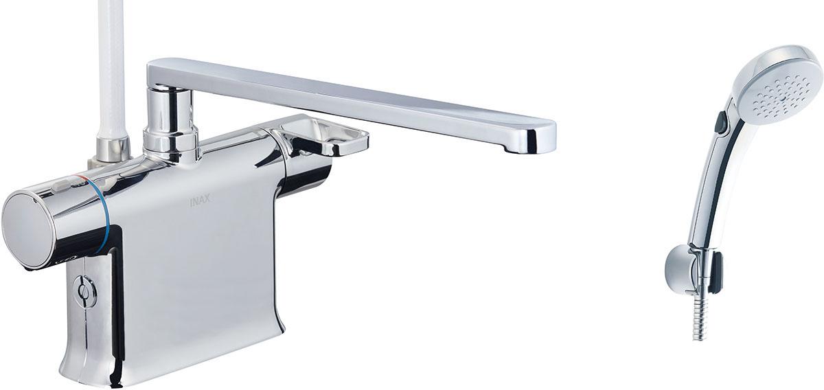 浴槽、カウンターデッキ面に取り付けるタイプ。フルカバー水栓。 INAX・LIXIL 浴室水栓【BF-WM646TNSCW(300)】 シャワーバス水栓 デッキタイプ サーモスタット付シャワーバス水栓+エコフルスイッチシャワー(めっき仕様) 寒冷地対応商品 [イナックス・リクシル]