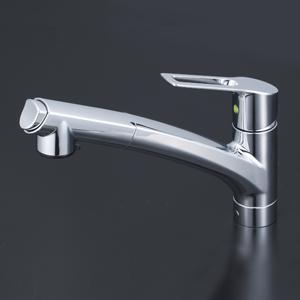 【KM5021JTEC】KVK 流し台用シングルレバー式シャワー付混合栓(Eレバー)上施工