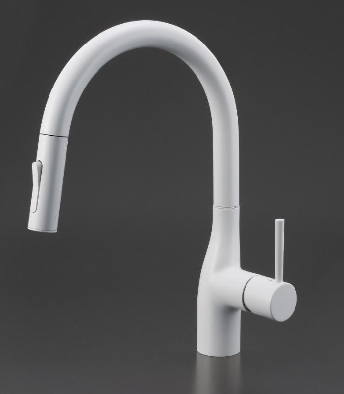 【KM6061ECM4】KVK 流し台用シングルレバー式シャワー付混合栓