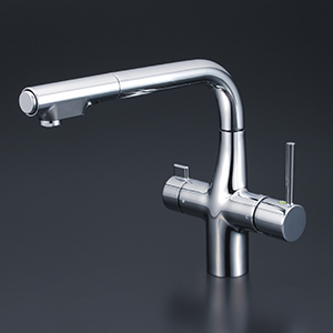 【KM6121SCEC】KVK 浄水器付シングルレバー式シャワー付混合栓(Eレバー)