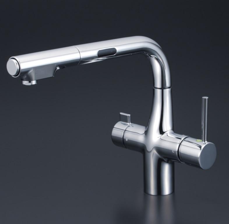 【KM6131STEC】KVK 浄水器付シングルレバー式シャワー付混合栓(センサー付) 【沖縄・北海道・離島は送料別途必要です】