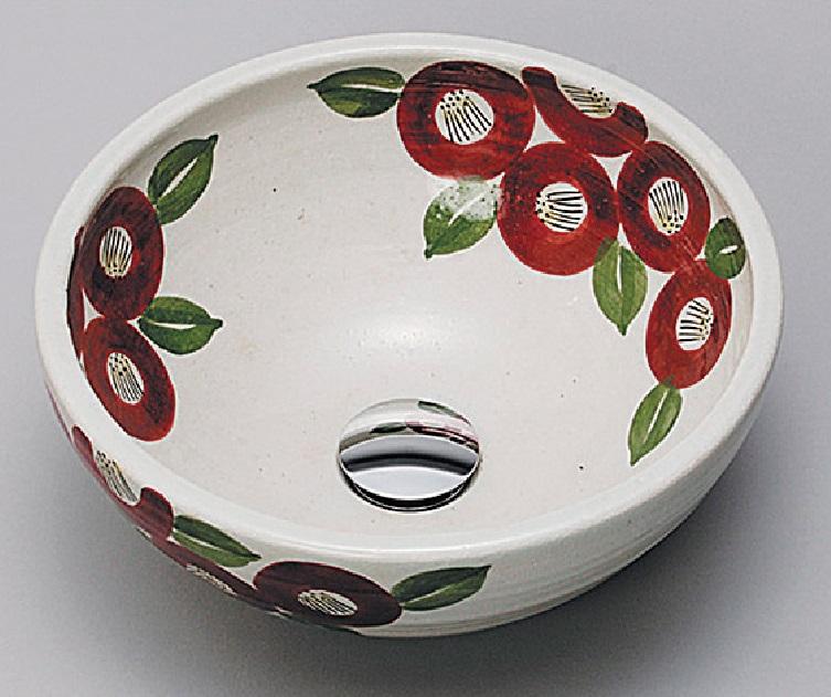 【KV209S】KVK 美術工芸手洗鉢赤椿絵 【沖縄・北海道・離島は送料別途必要です】