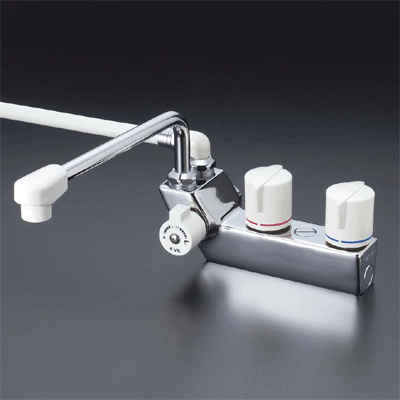 KVK デッキ形一時止水付2ハンドルシャワー 300パイプ付 左側シャワー【KF207R3】[新品]