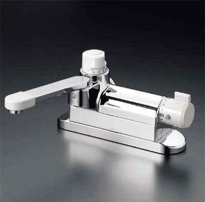 送料込み KVK デッキ形定量止水付サーモスタット式混合栓 お湯ぴた/サーモスタット混合栓【KM297ZG】[新品]
