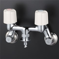 KVK 2ハンドル混合栓 【KM33WU2】とめるぞう付/ホースワンタッチ接続【KM33WU2】[新品]