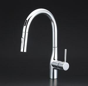 KVK キッチン 【KM6071EC】 センサー付グースネックシングルレバー式混合栓(eレバー) [新品]