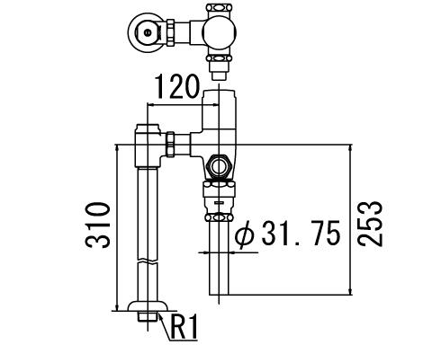 INAX トイレ フラッシュバルブ【CF-T610BP】 一般地用 洗浄水量6-8L便器用(定流量弁付フラッシュバルブ) 中水用【CFT610BP】 INAX・イナックス・LIXIL・リクシル【沖縄・北海道・離島は送料別途必要です】