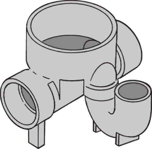 下水道関連製品 ビニマス M 100-200シリーズ トラップ (UT) M-UT右100X100S-200 Mコード:49760 前澤化成工業