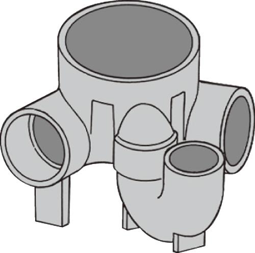 下水道関連製品 ビニマス M 100-200シリーズ 90度曲り/トラップ付 (UT-L) M-UT-L右100X100P-200 Mコード:49768 前澤化成工業