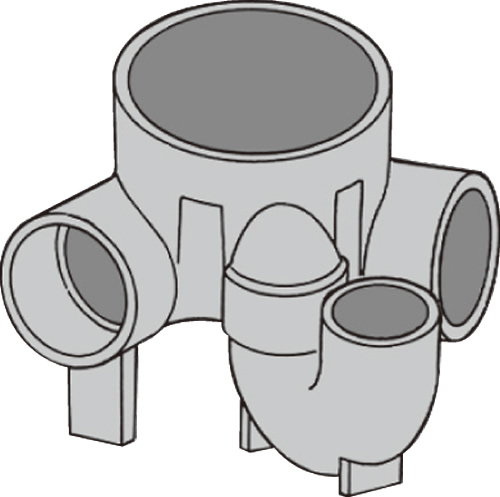 下水道関連製品 ビニマス M 100-200シリーズ 90度曲り/トラップ付 (UT-L) M-UT-L左100X100S-200 Mコード:49770 前澤化成工業