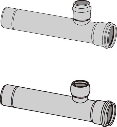 下水道関連製品 下水道継手 枝付管 ゴム輪受口枝付管 TR-R TR200R-125RX1000L Mコード:75406 (前澤化成工業、積水、東栄管機 他) 配管部品,管材