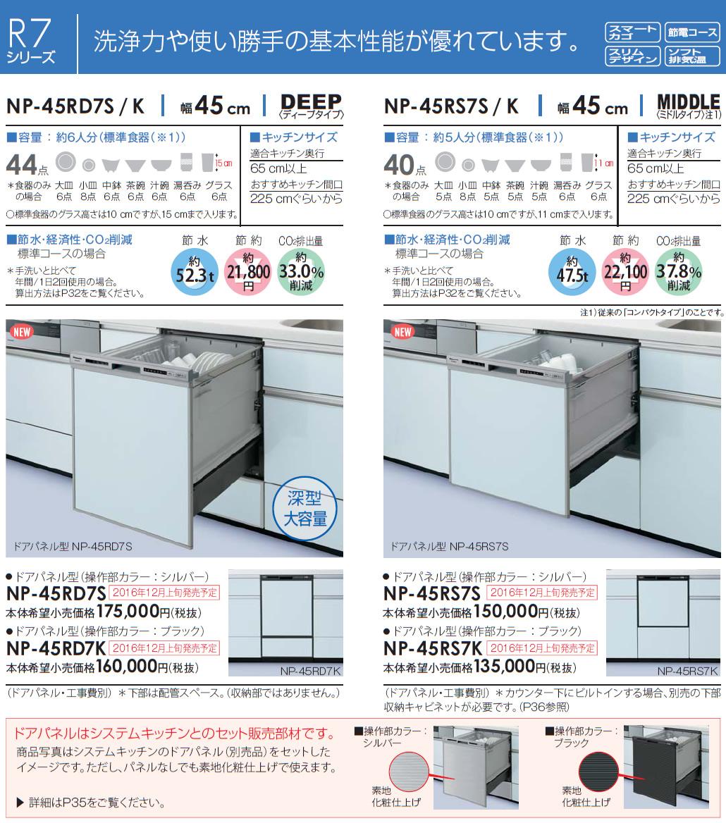 【延長保証5年間対象商品】パナソニック・ビルトイン食器洗乾燥機(食洗機)【NP-45RD7S】幅45cmディープタイプ・ドアパネル型/シルバー【NP-45RD6Sの後継品】