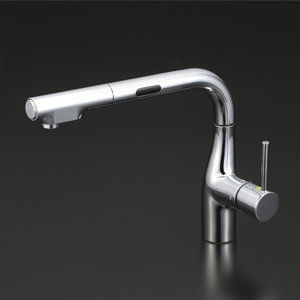 【KM6111EC】KVK 流し台用シングルレバー式シャワー付混合栓(L型センサー付)Eレバー 【沖縄・北海道・離島は送料別途必要です】