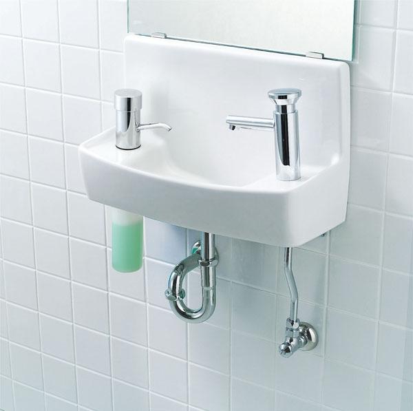 【L-A74P2D】 LIXIL・リクシル トイレ用手洗い器 プッシュ式セルフストップ水栓 水石けん入れ付タイプ 床給水・壁排水 ハイパーキラミック INAX
