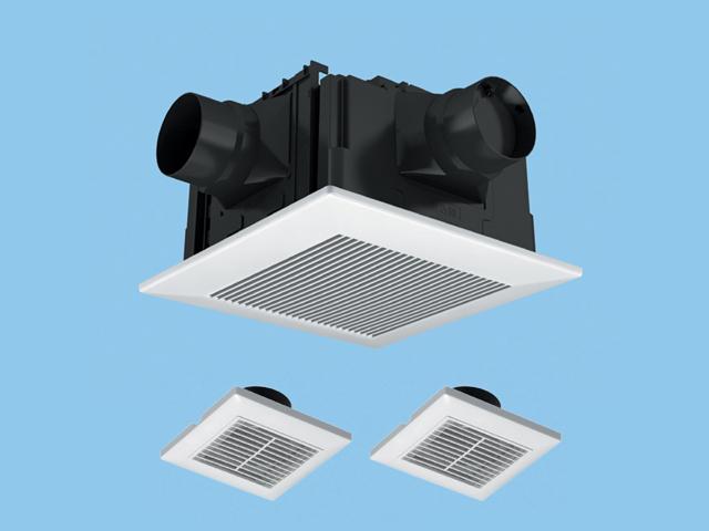 【FY-32CDT7】 天埋換気扇(樹脂)3室用・ルーバーセット 排気・低騒音形 DCモーター搭載 3室用(吸込グリル付属) 常時換気付 樹脂製本体 ルーバーセットタイプ 埋込寸法:320mm角 適用パイプ径:φ100mm換気扇 パナソニック