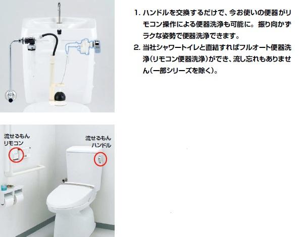LIXIL・リクシル トイレ リモコン自動洗浄ハンドル 流せるもん 【CWA-67B】 振り向かずにラクな姿勢で便器洗浄。取付けもカンタンです。 INAX